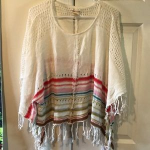 Billabong Knitted White & Rainbow Poncho